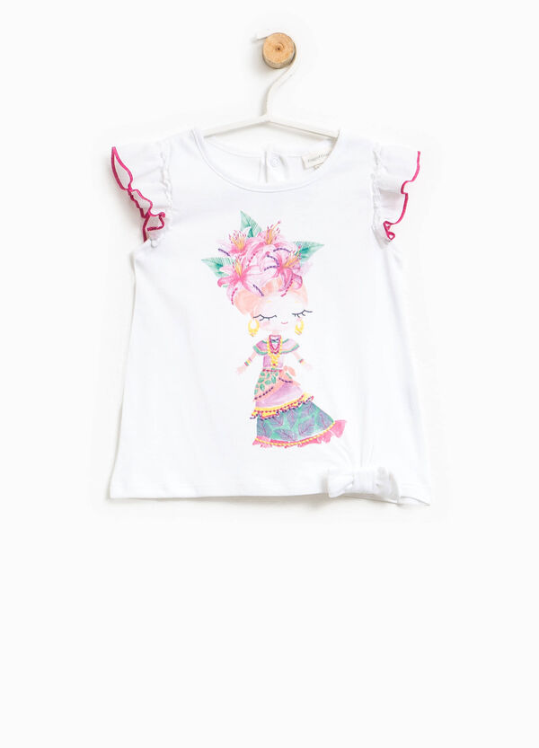 Top with flounce, print and embroidery | OVS