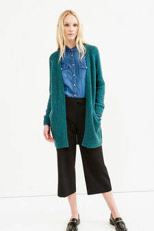 Long cardigan without buttons, Green, hi-res