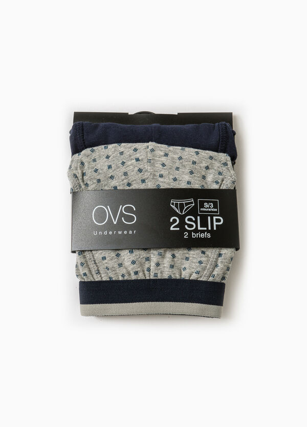 Two-pack cotton briefs patterned and solid colour | OVS