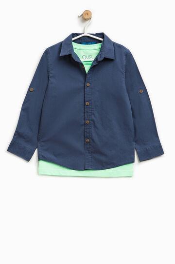 Shirt and printed T-shirt outfit, Blue/Green, hi-res