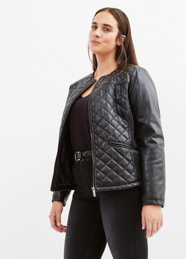 Curvy leather look jacket with studs | OVS