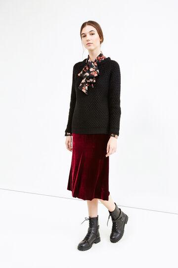 Pullover tricot con fondo asimmetrico, Nero, hi-res