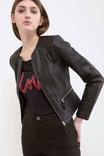 Leather look, stitched jacket, Black, hi-res