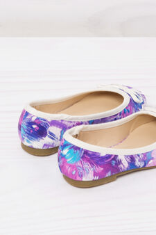 Round toe ballerina flats with print., Lilac, hi-res