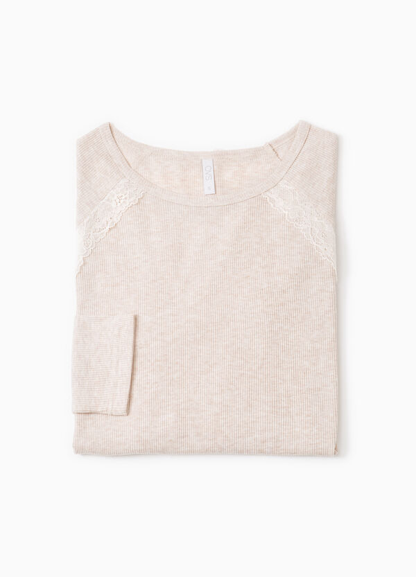 Ribbed pyjama top with lace | OVS