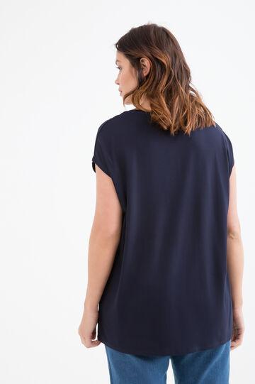 Curvy viscose T-shirt with sequins, Navy Blue, hi-res