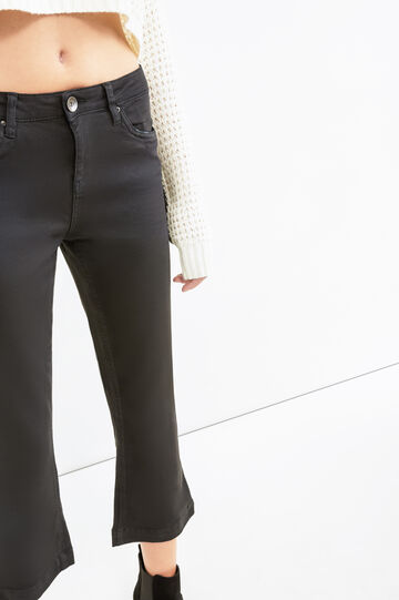 Stretch crop trousers with flared leg, Black, hi-res