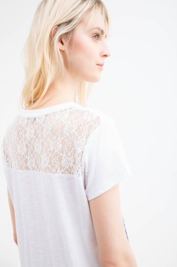 Cotton blend T-shirt with lace insert, White, hi-res