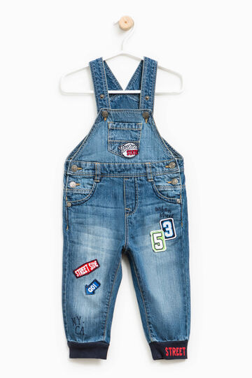 Used-effect denim dungarees with patches, Denim, hi-res