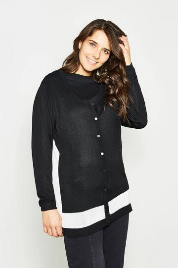 Curvy V-neck cardigan, Black/White, hi-res