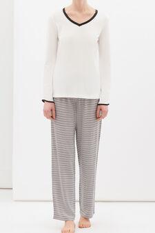 Stretch viscose blend pyjamas, Cream White, hi-res