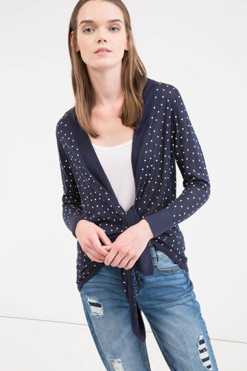 100% viscose cardigan with hearts pattern, Blue, hi-res