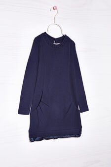 Solid colour dress with lace, Navy Blue, hi-res