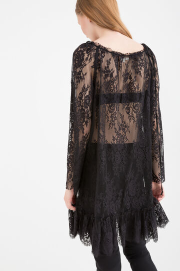Lace tunic dress with round neckline, Black, hi-res