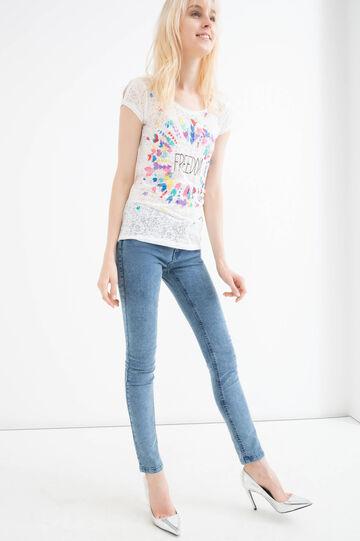 Cotton blend printed T-shirt, Milky White, hi-res
