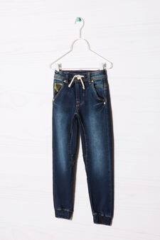 Jeans with drawstring and elastic ankles., Denim Blue, hi-res