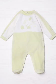 Cotton blend onesie with patches, White/Green, hi-res