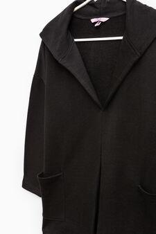 100% cotton hooded cardigan, Black, hi-res