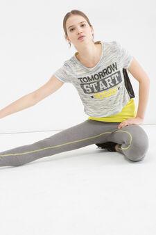 Printed sports T-shirt, Grey Marl, hi-res
