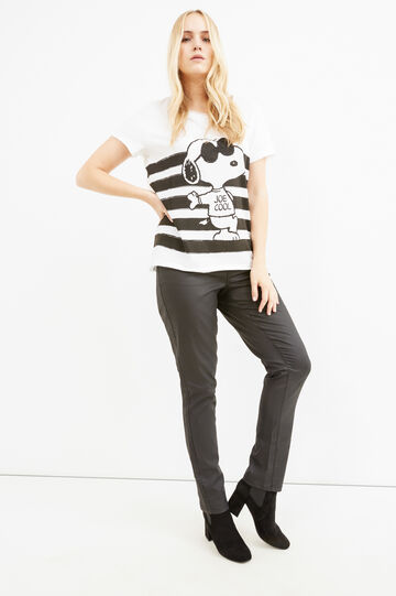 T-shirt cotone stampa Snoopy Curvy, Bianco, hi-res