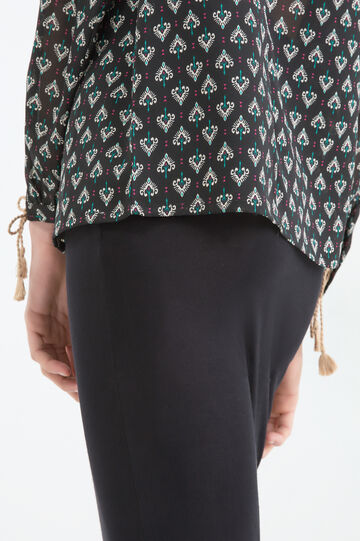 Patterned and embroidered blouse, Black, hi-res
