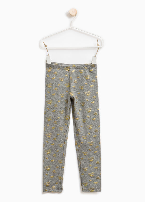 Patterned leggings in stretch cotton. | OVS