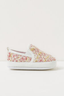 Slip-ons with embroidered upper, White/Pink, hi-res
