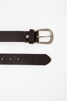 Solid colour belt with shiny buckle, Dark Brown, hi-res
