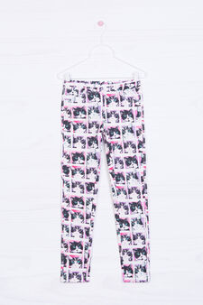 Printed stretch jeggings, White, hi-res