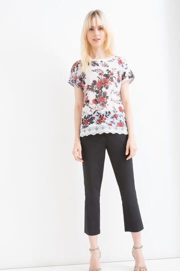 Stretch T-shirt with floral pattern, Blue/Red, hi-res