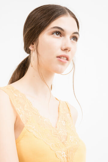 100% cotton top with lace, Ochre Yellow, hi-res