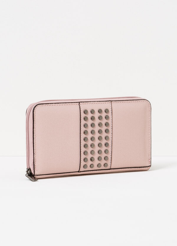 Textured-effect wallet with studs | OVS