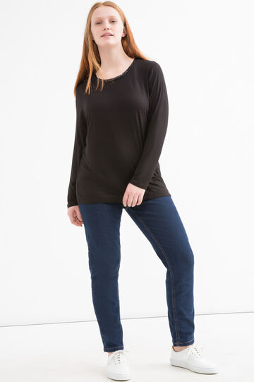 Curvy T-shirt with diamanté appliqués