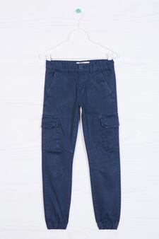 Stretch cotton cargo pants, Navy Blue, hi-res