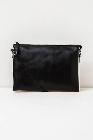 Solid colour shoulder bag with zip, White/Black, hi-res