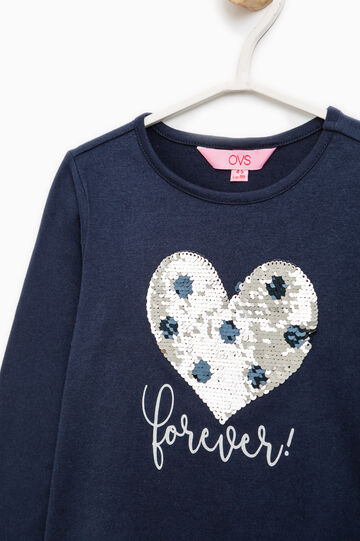 T-shirt in cotton with print and sequins, Navy Blue, hi-res