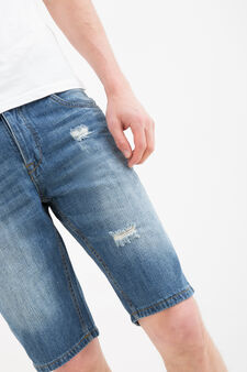 Bermuda di jeans strappi straight fit, Denim, hi-res