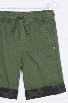 Cotton shorts with contrasting band., Green, hi-res