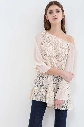 Cotton blend blouse with lace insert, Chalk White, hi-res