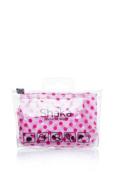 Patterned shower cap, White/Fuchsia, hi-res