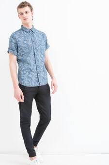 Slim-fit patterned shirt, Dark Blue, hi-res