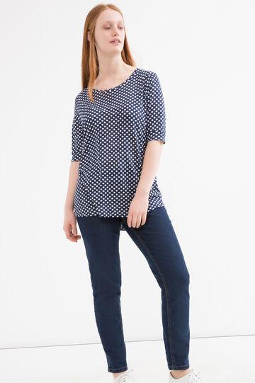 Curvy polka dot T-shirt in 100% viscose, White/Blue, hi-res
