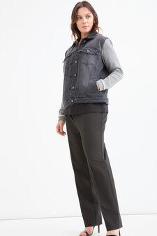 Curvy faded denim jacket, Grey, hi-res