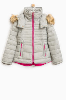 Down jacket with hood, Beige, hi-res