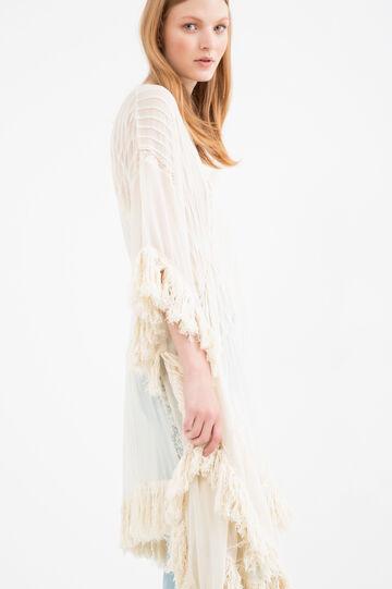 Solid colour short dress with fringe, Light Beige, hi-res