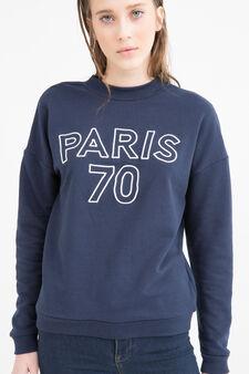 Cotton blend printed sweatshirt, Navy Blue, hi-res