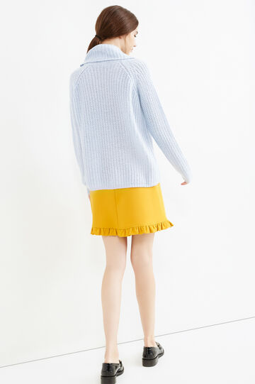 Chunky knit pullover with high neck, Sky Blue, hi-res