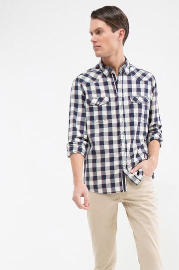Camicia cotone tartan G&H, Bianco/Blu/Rosso, hi-res