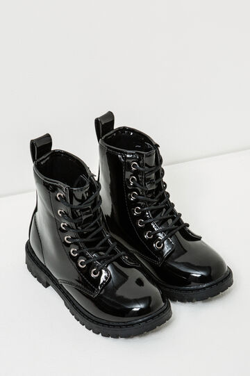 Polished combat boots with thick tread sole, Black, hi-res