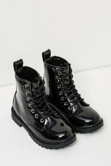 Botas brillantes de estilo militar con suela dentada, Negro, hi-res